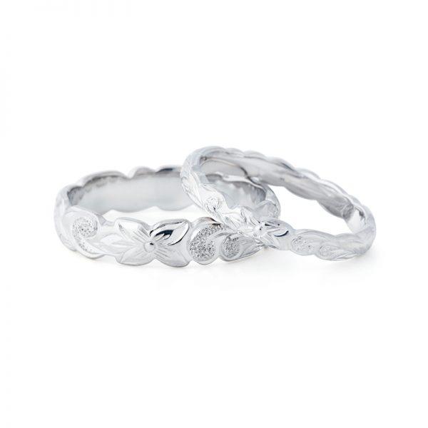 ハワイアンジュエリーの結婚指輪華奢可愛い