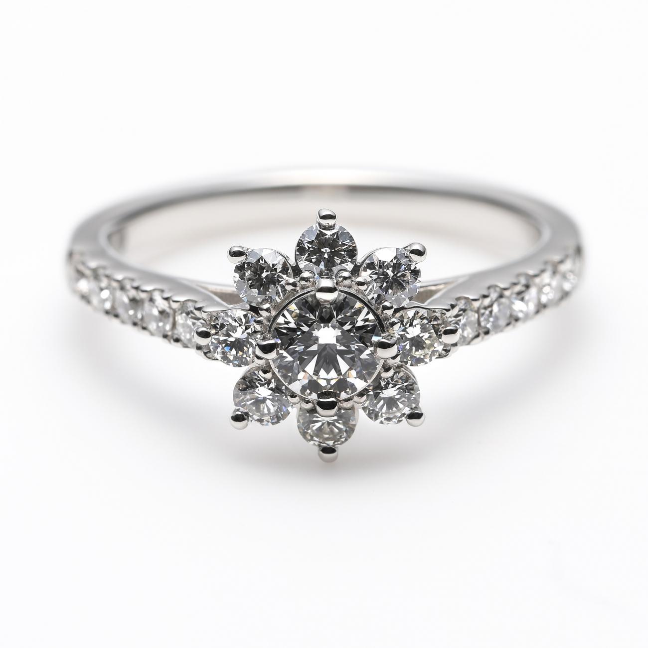 """Star Shine"" Diamond Halo Half Eternity Ring"
