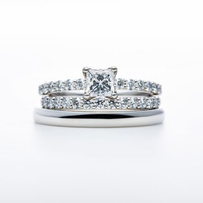 """D Line Star Princess"" Diamond Harf Eternity Ring Set"
