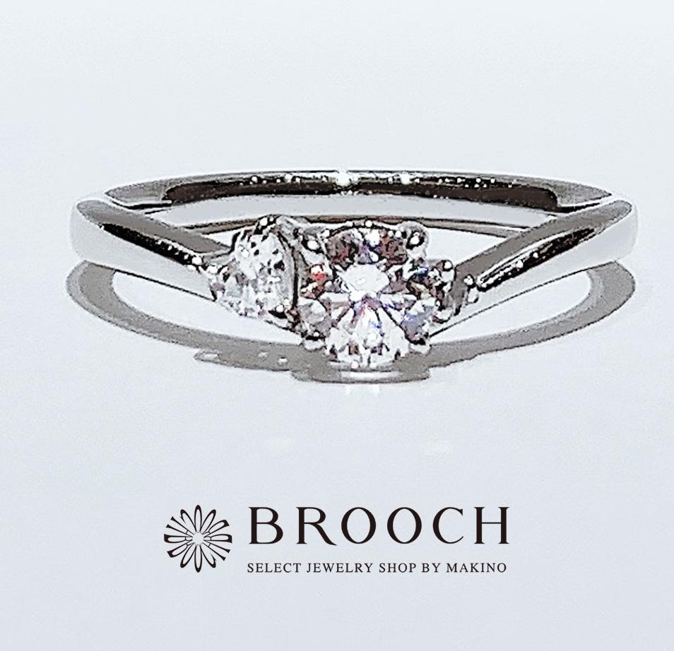 BROOCH 婚約指輪 エンゲージリング 片側ハート型メレダイヤV字ライン