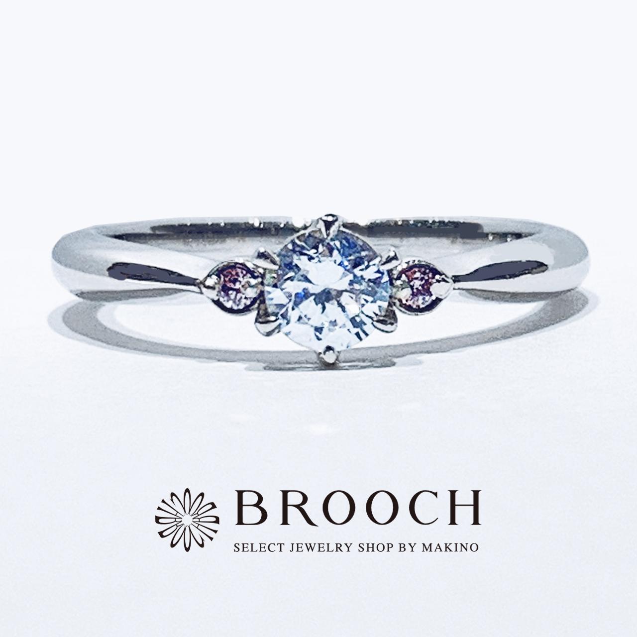 BROOCH 婚約指輪 エンゲージリング シンプルキュート両サイドピンク
