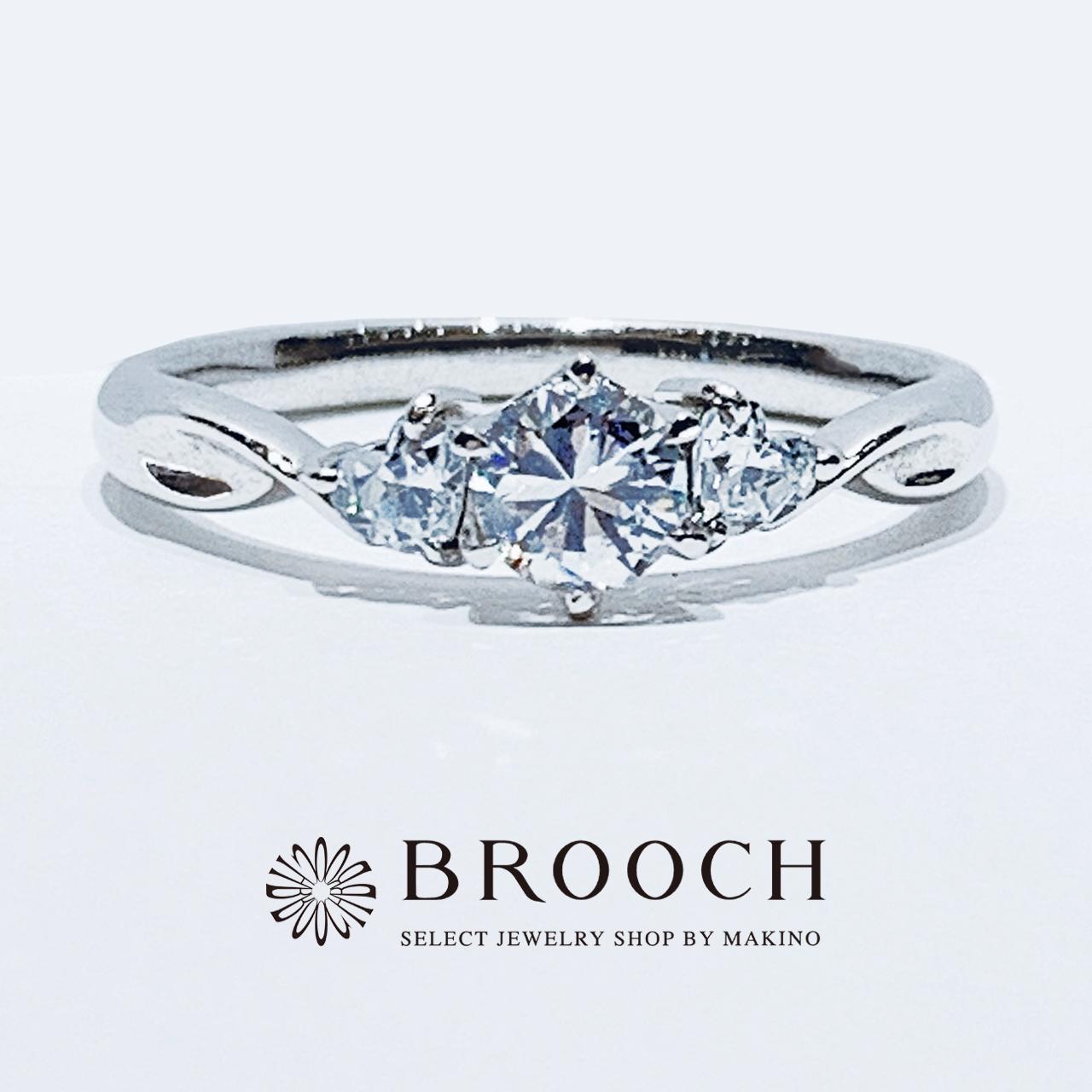BROOCH 婚約指輪 エンゲージリング シンプルキュート両サイドハートシェイプ