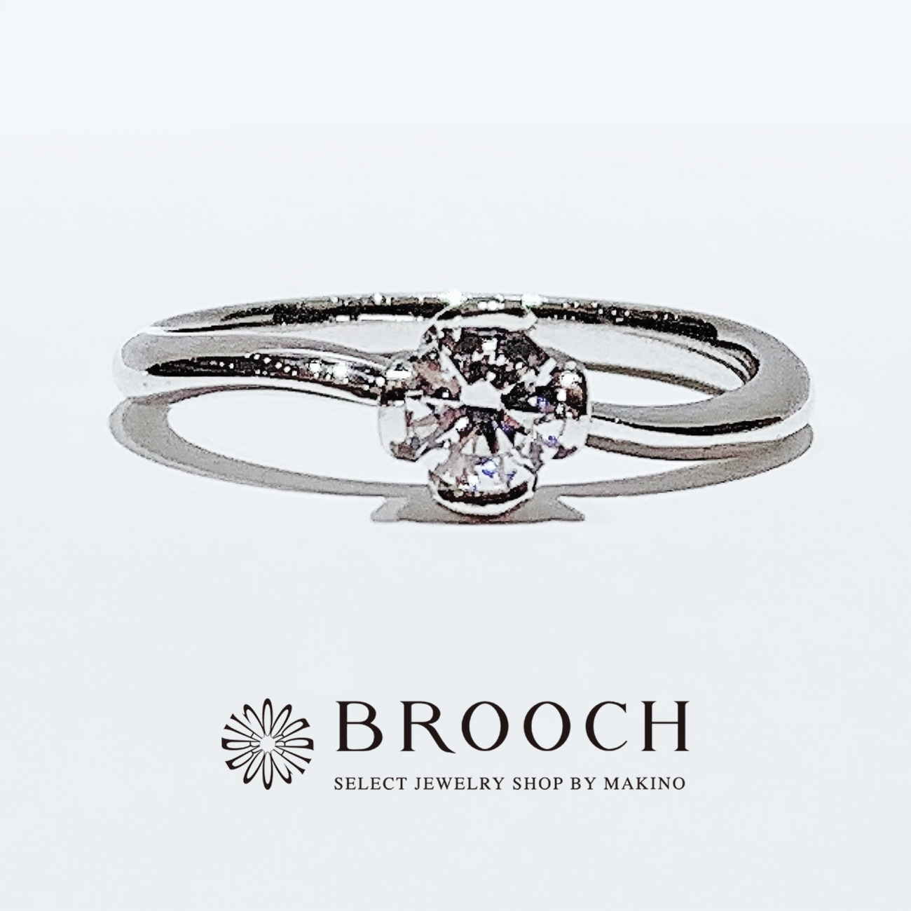 BROOCH 婚約指輪 エンゲージリング 細めウェーブフラワーデザイン