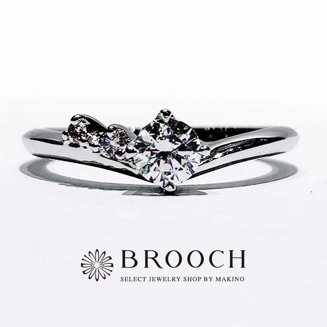 BROOCH 婚約指輪 エンゲージリング 片側メレピンクダイヤV字ライン
