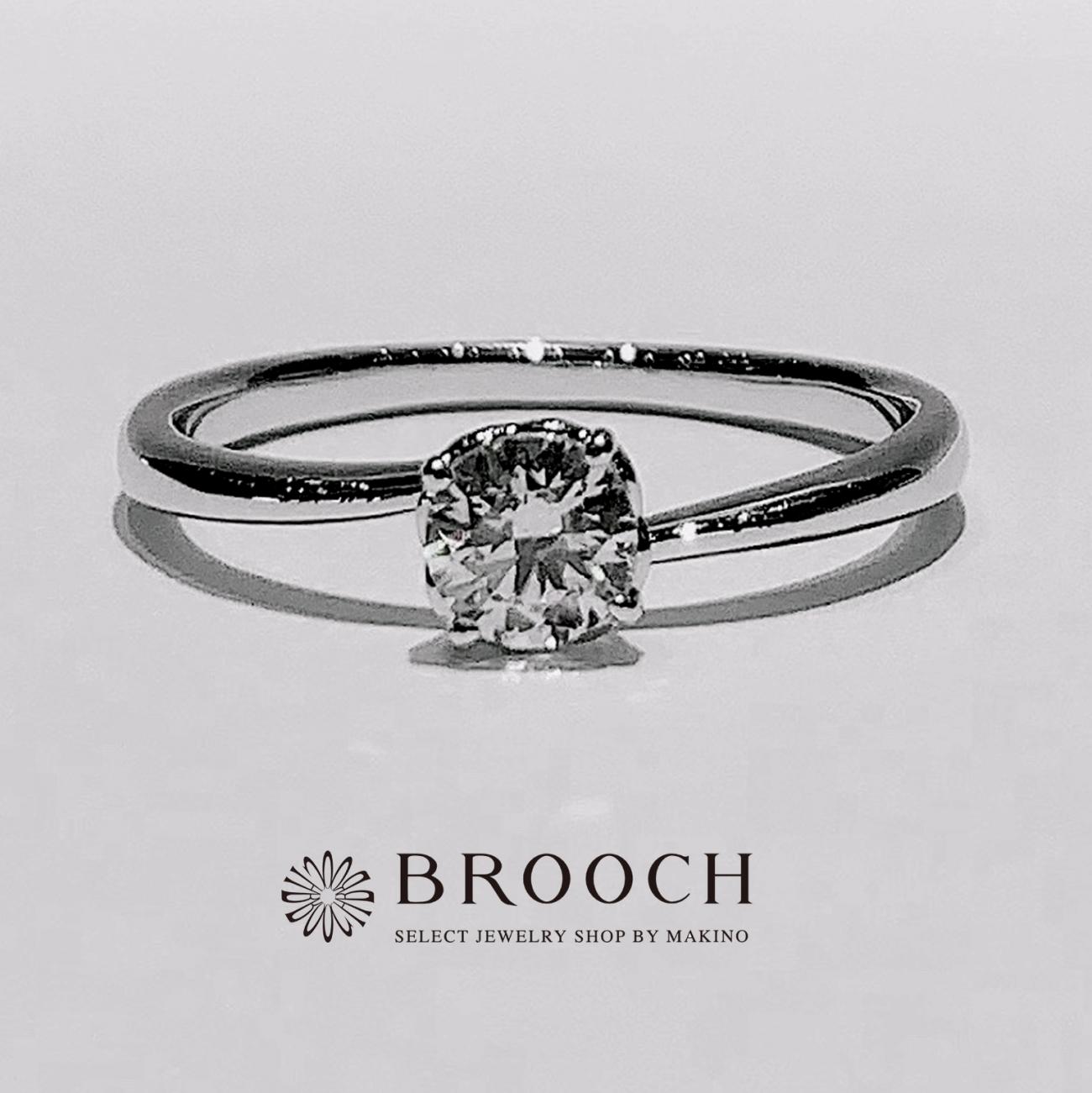 BROOCH 婚約指輪 エンゲージリング 4点留めダイヤ細めシンプルデザイン