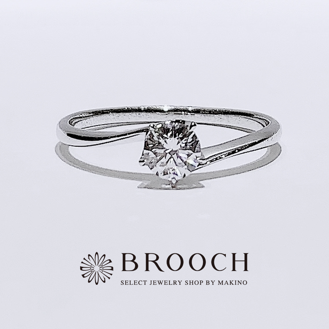 BROOCH 婚約指輪 エンゲージリング 5点留めダイヤウェーブデザイン