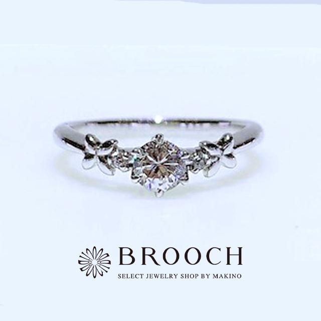 BROOCH 婚約指輪 エンゲージリング 両サイドメレお花デザイン