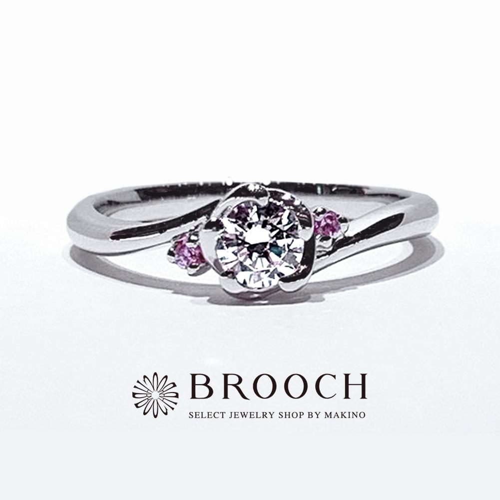 BROOCH 婚約指輪 エンゲージリング ウェーブ両サイドメレフラワーデザイン