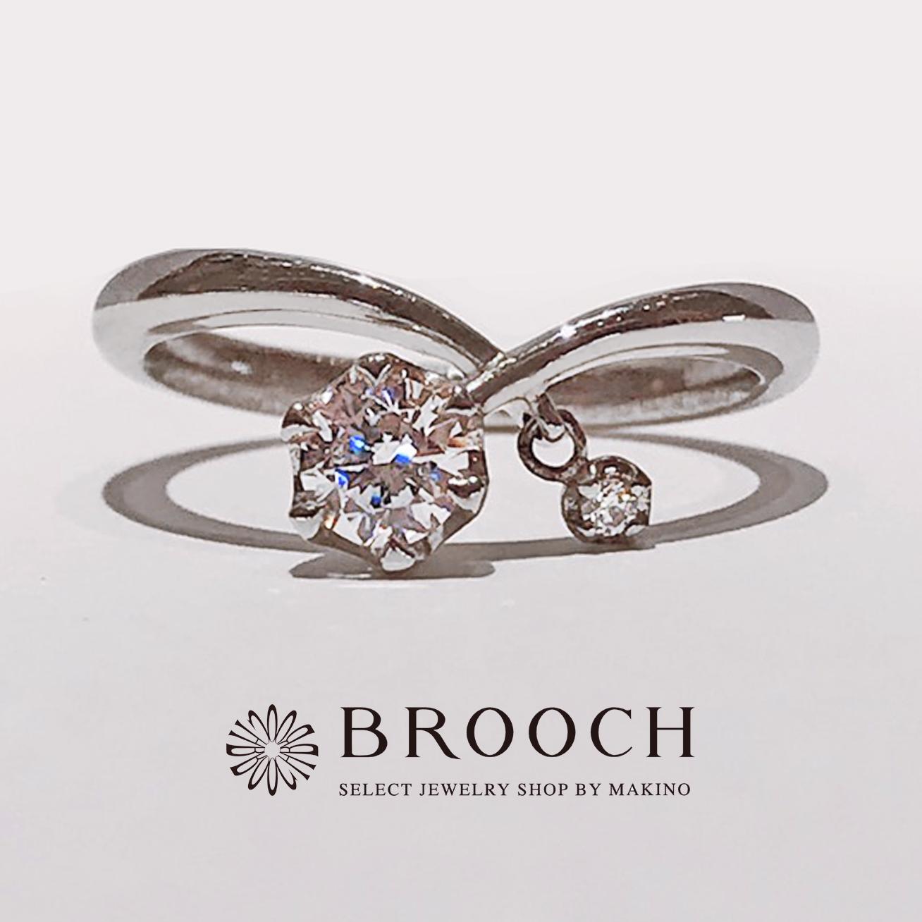 BROOCH 婚約指輪 エンゲージリング 個性派Ⅴ字デザイン
