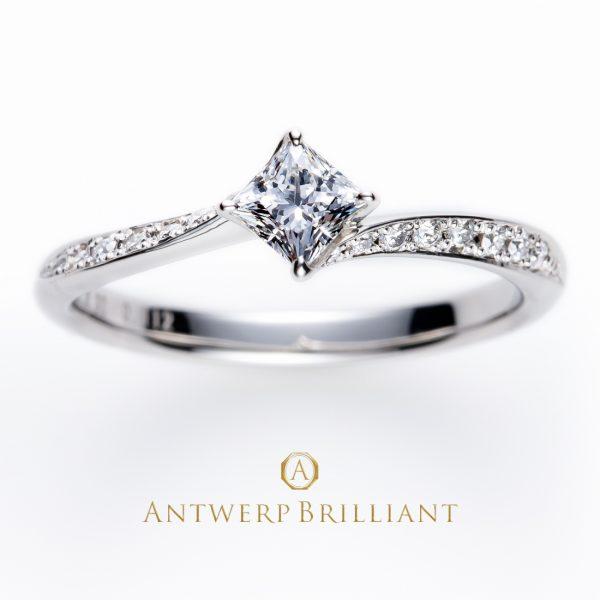 ブローチのエンゲージリングデザインでプリンセスカットダイヤモンドが似合うライトニング
