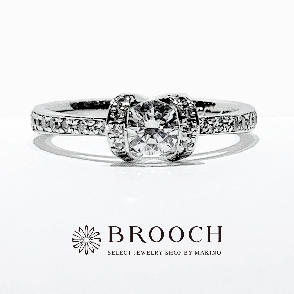 BROOCH 婚約指輪 エンゲージリング 華やかなダイヤモンドライン