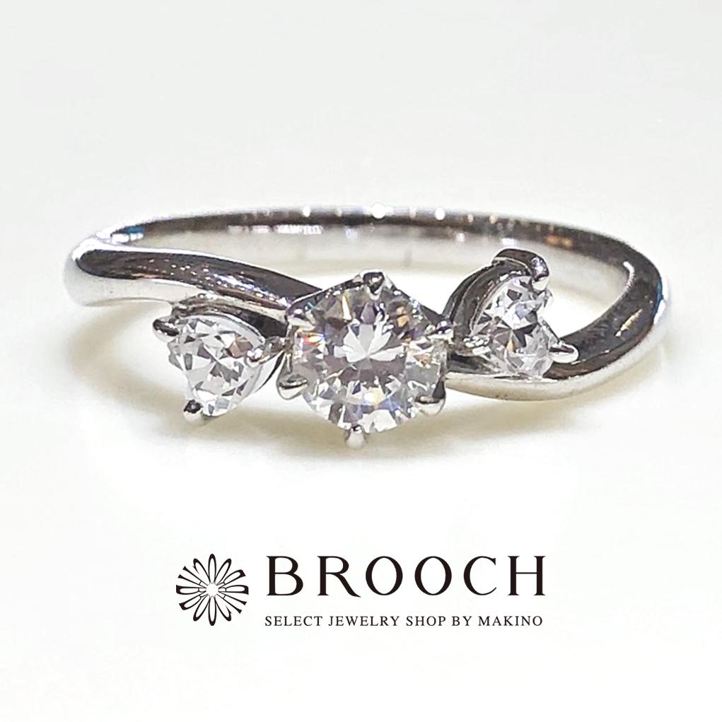 BROOCH 婚約指輪 エンゲージリング 両サイドハート型メレウェーブデザイン