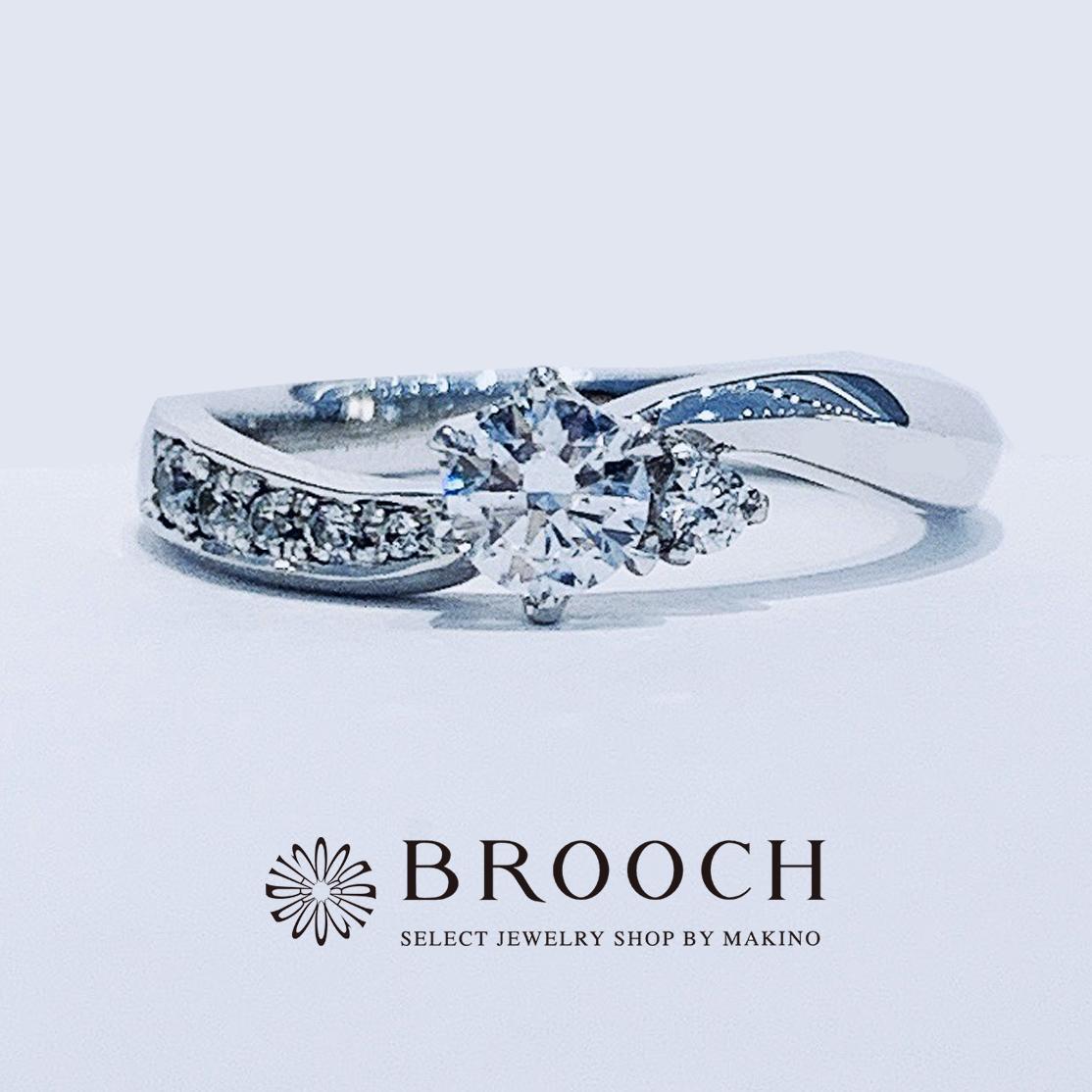 BROOCH 婚約指輪 エンゲージリング ウェーブデザイン