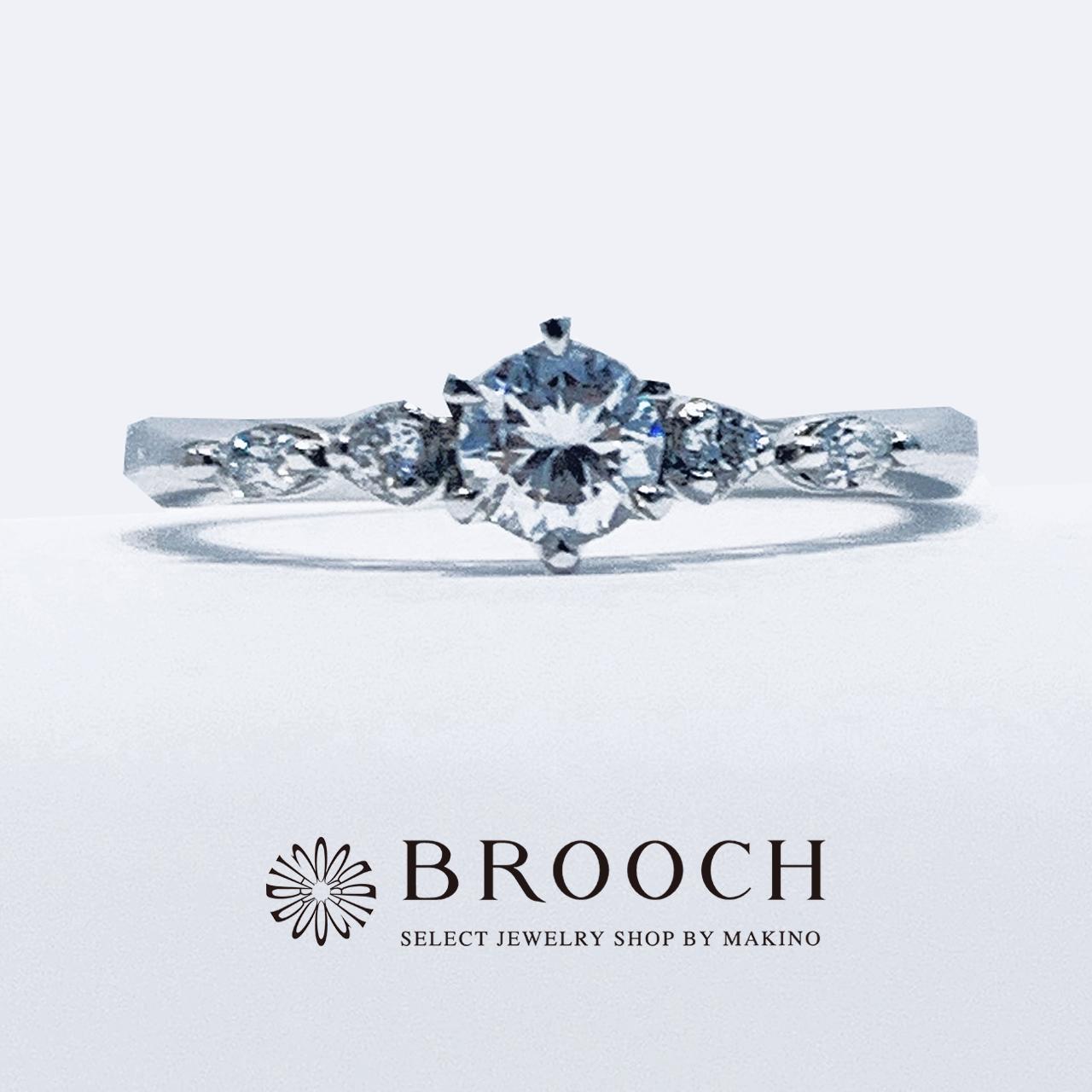 BROOCH 婚約指輪 エンゲージリング シンプル両サイドメレ