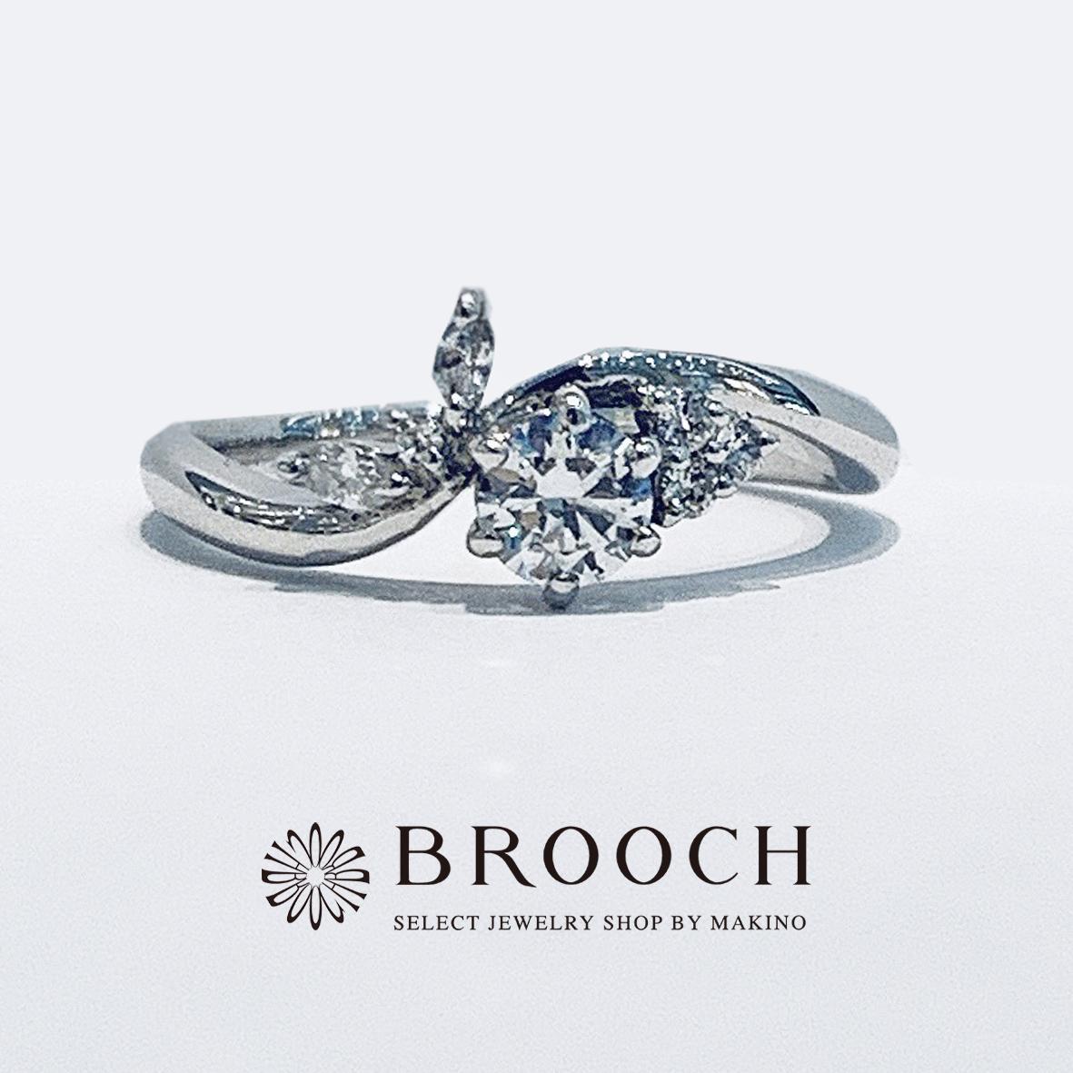 BROOCH 婚約指輪 エンゲージリング ウェーブフラワーデザイン