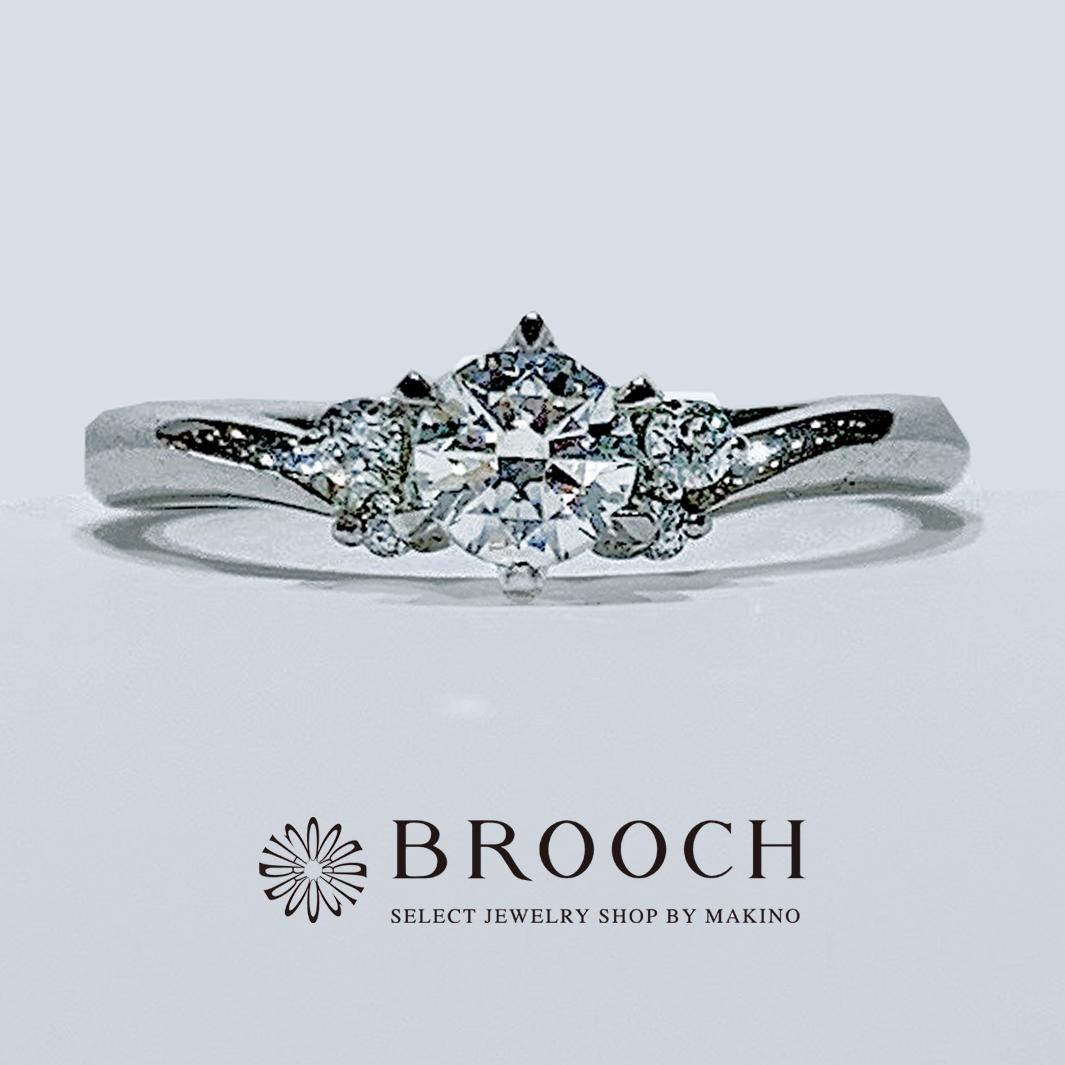 BROOCH 婚約指輪 エンゲージリング シンプルV字両サイドメレ