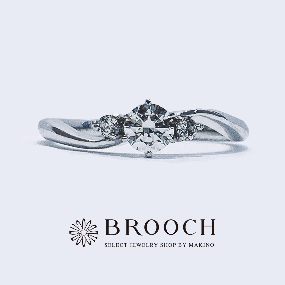 BROOCH 婚約指輪 エンゲージリング サイドメレ ウェーブデザイン