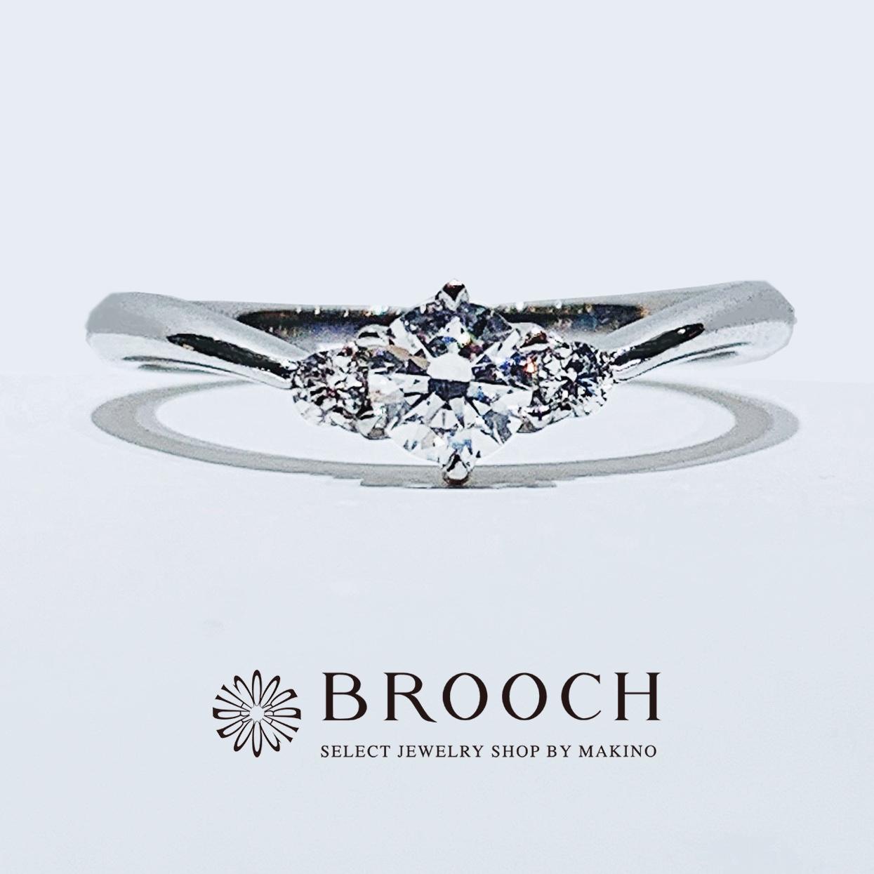 BROOCH 婚約指輪 エンゲージリング かわいい シンプルV字デザイン
