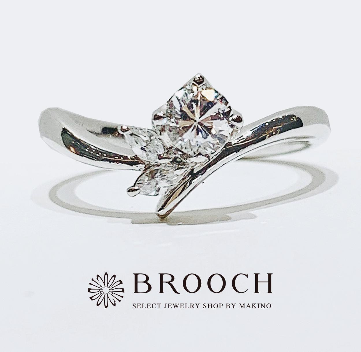 BROOCH 婚約指輪 エンゲージリング かわいい お花風ウェーブデザイン