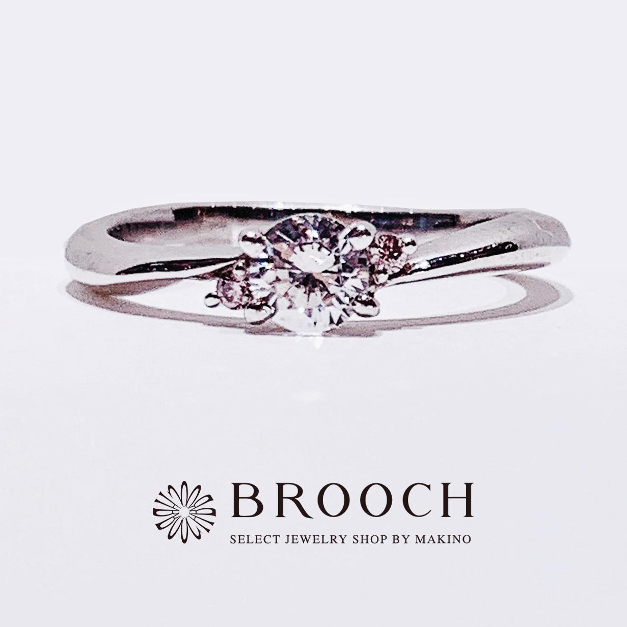 BROOCH 婚約指輪 エンゲージリング かわいい 両サイドピンク石ストレートデザイン