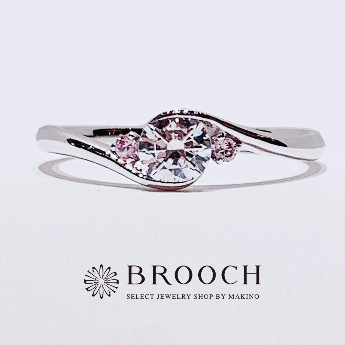 BROOCH 婚約指輪 エンゲージリング かわいい ウェーブデザイン両サイドピンクダイヤ