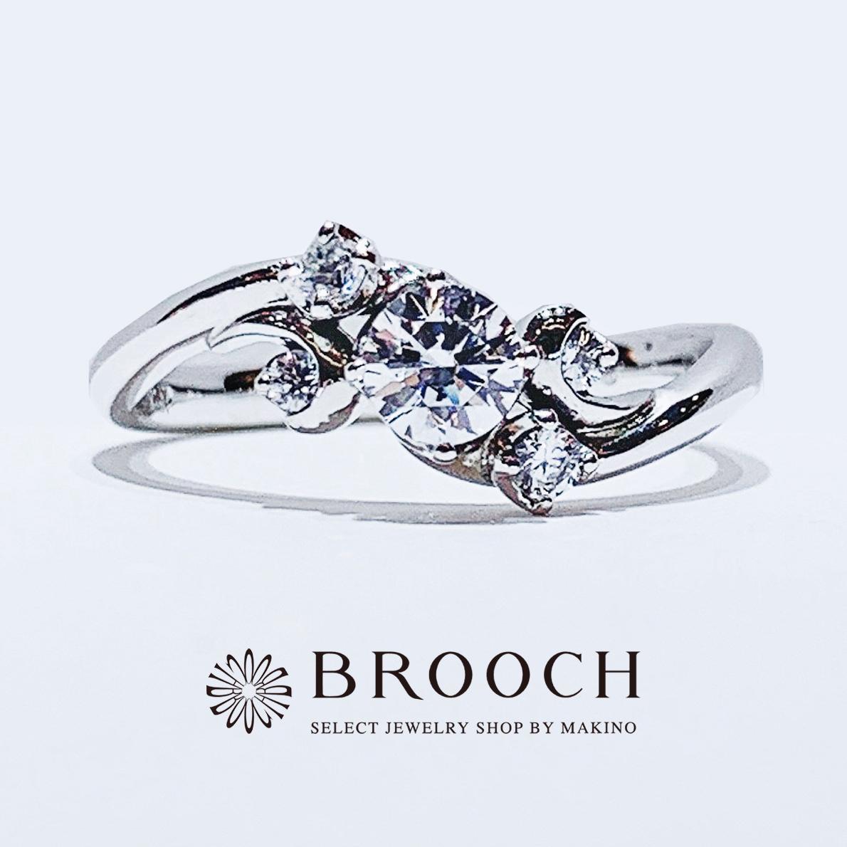 BROOCH 婚約指輪 エンゲージリング かわいい 華やかなウェーブデザイン
