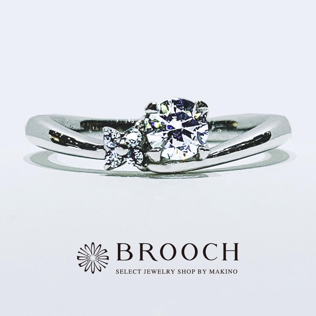 BROOCH 婚約指輪 エンゲージリング かわいい 緩やかなウェーブデザイン