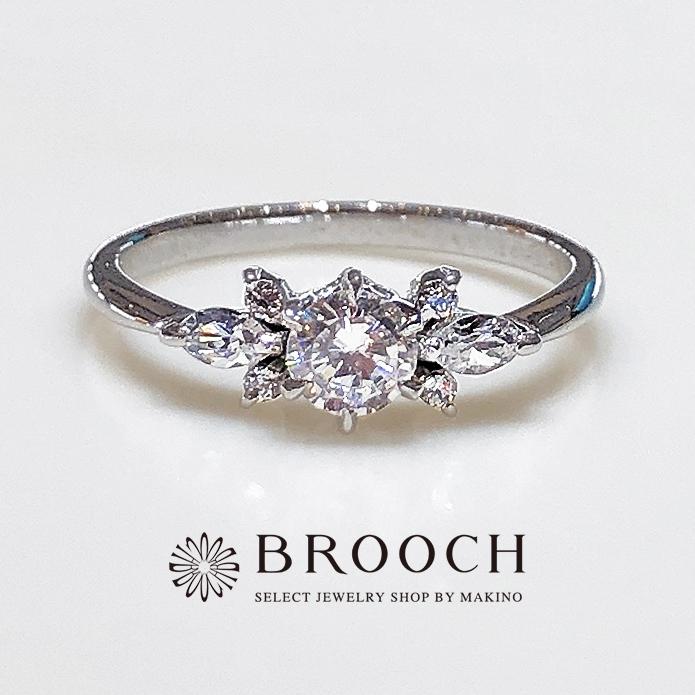 BROOCH 婚約指輪 エンゲージリング マーキスカットお花風デザイン