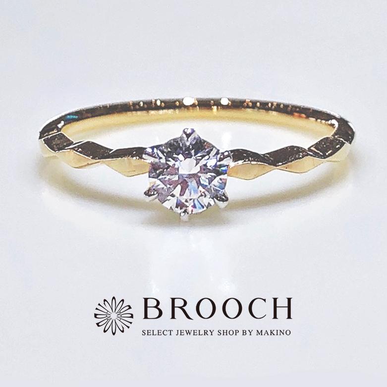 BROOCH 婚約指輪 エンゲージリング 細めアンティーク風デザイン