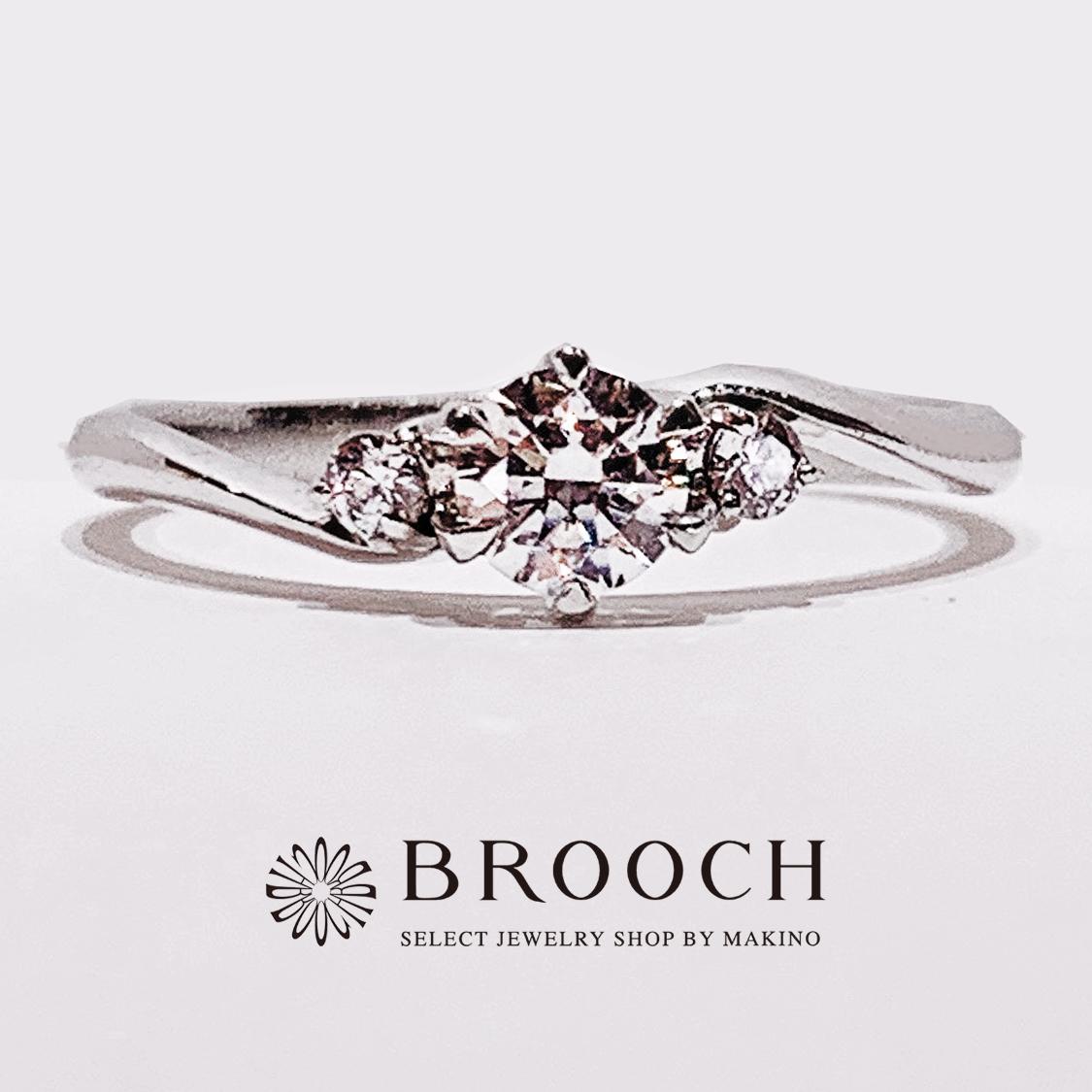 BROOCH 婚約指輪 エンゲージリング かわいい ウェーブ両サイドメレ