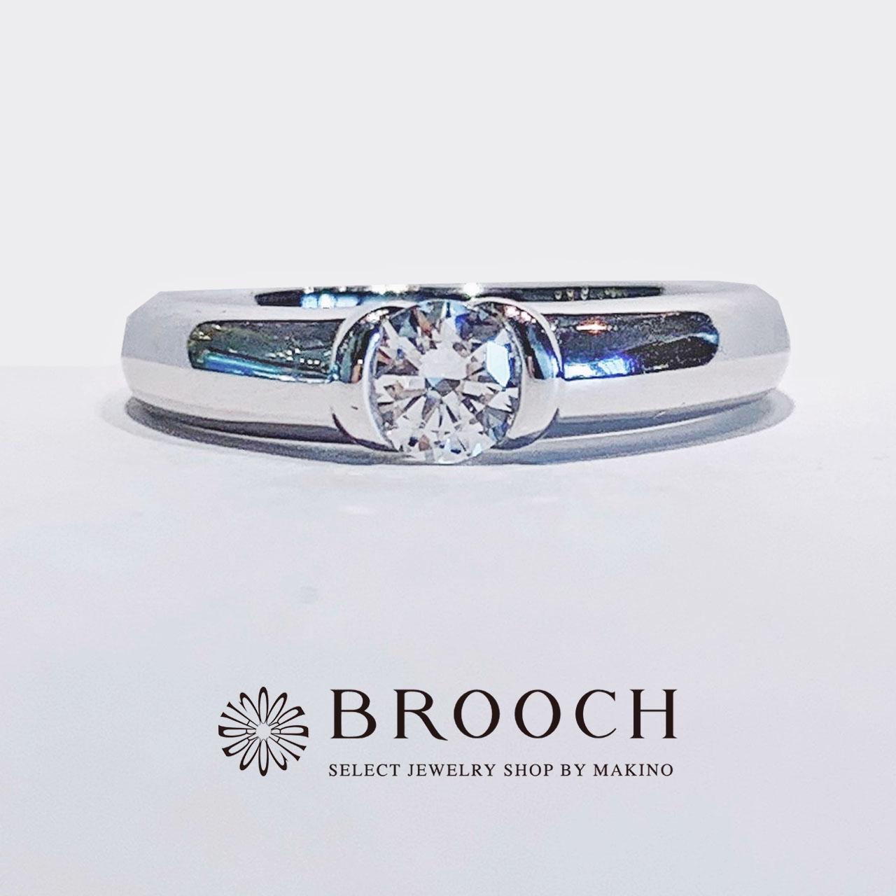 BROOCH 婚約指輪 エンゲージリング かわいい シンプル1石ストレートデザイン