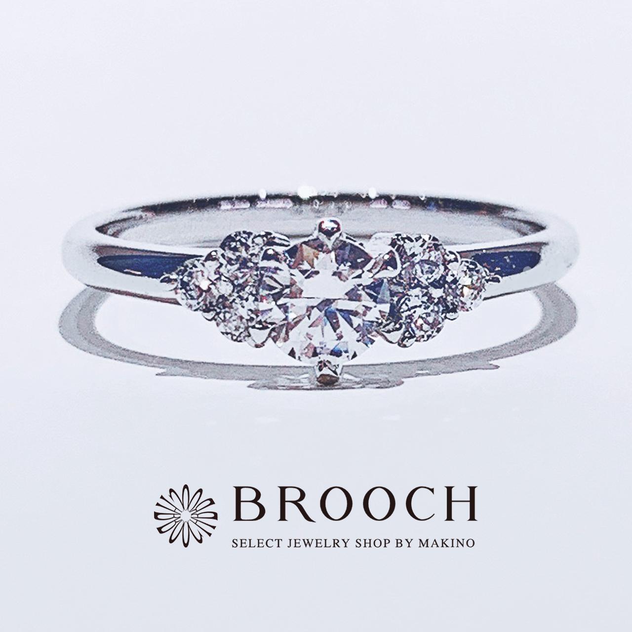 BROOCH 婚約指輪 エンゲージリング かわいい 両サイドメレストレートデザイン