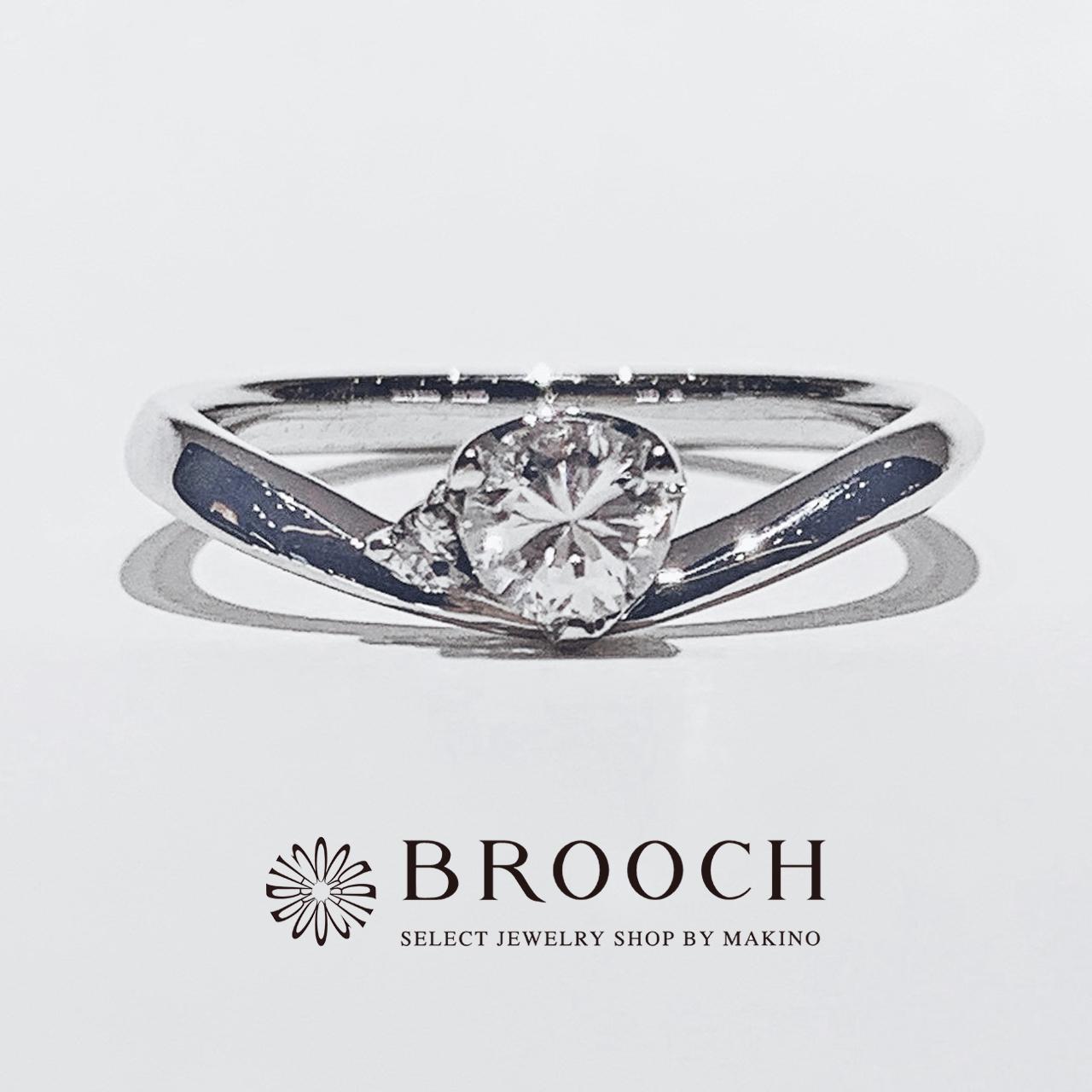 BROOCH 婚約指輪 エンゲージリング かわいい シンプルなV字デザイン