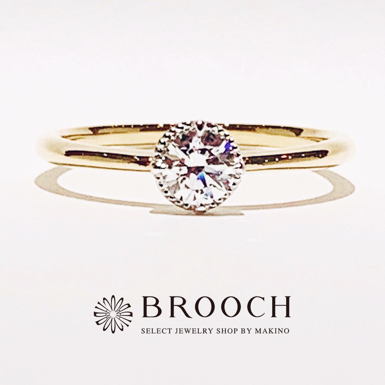 BROOCH 婚約指輪 エンゲージリング かわいい ミル打ち2色コンビデザイン