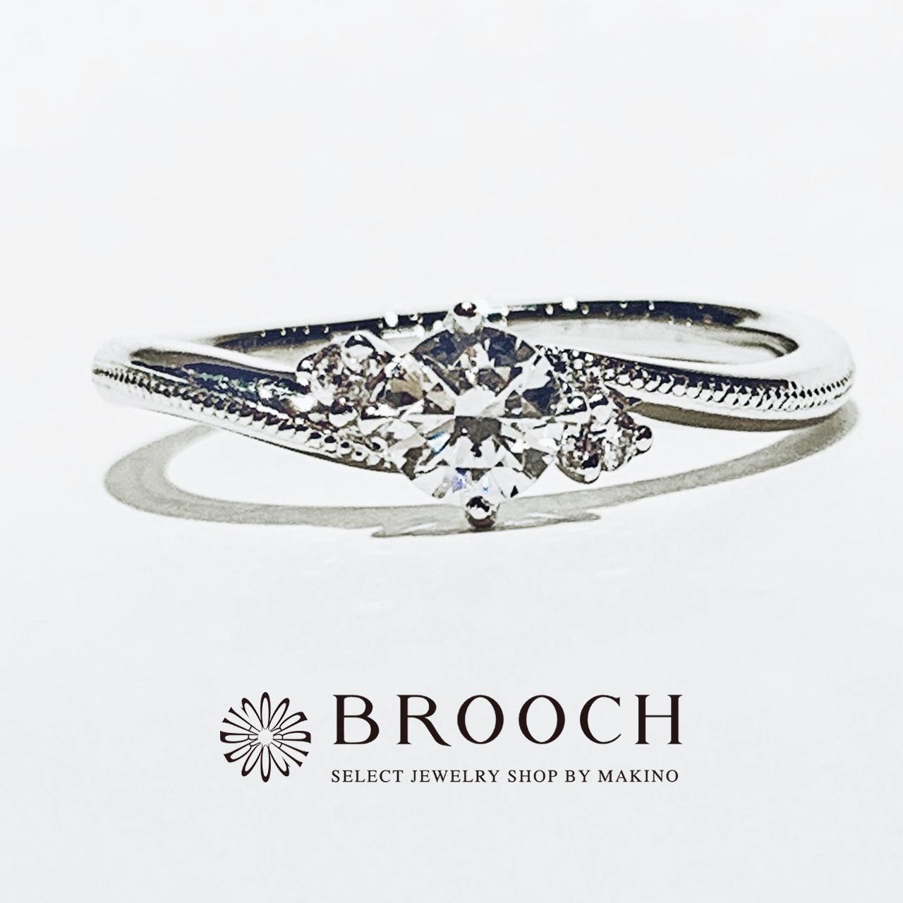 BROOCH 婚約指輪 エンゲージリング かわいい 両サイドメレデザイン