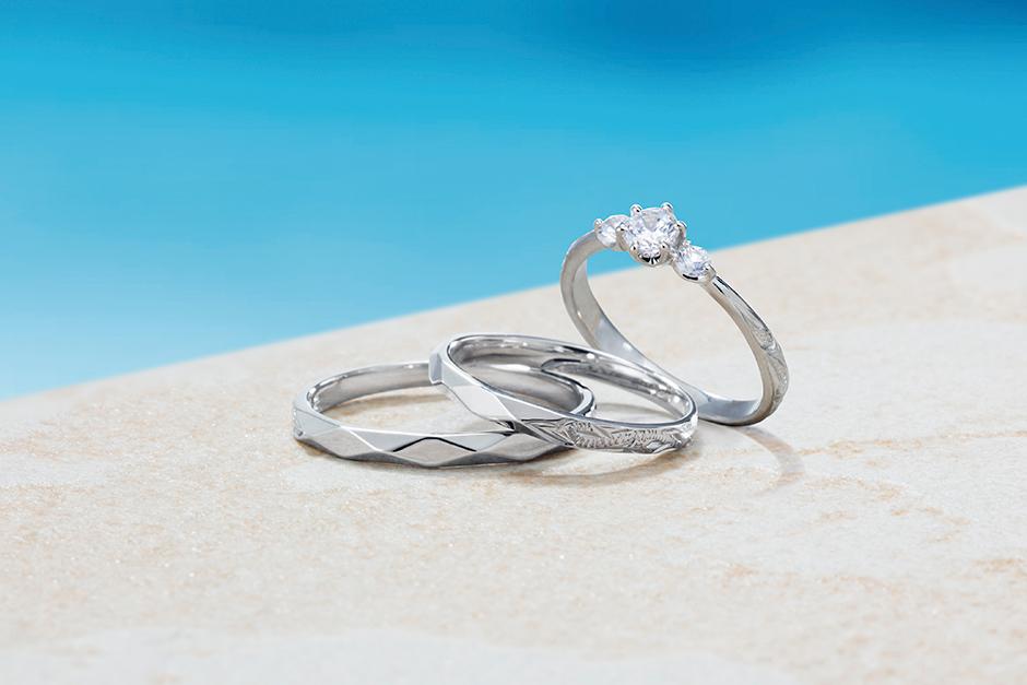 ハワイアンジュエリーなのに細身でかわいい結婚指輪はプライベートビーチ
