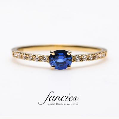 """ Loyal Blue "" sapphire Diamond line Ring"