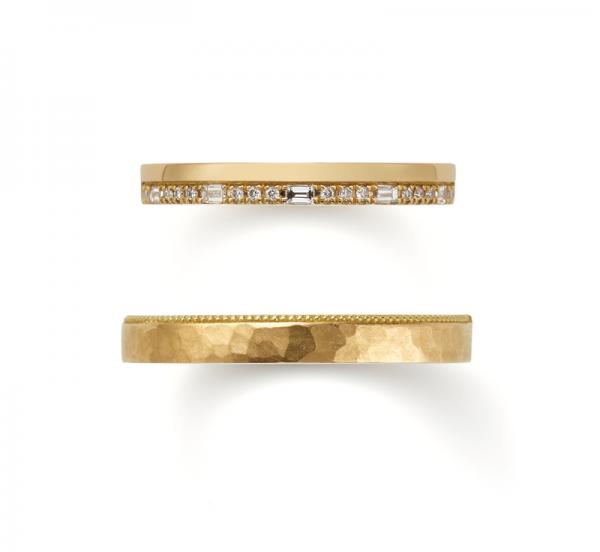 オレッキオ独特のエメラルドかっとが入ったおしゃれな結婚指輪はBROOCHへ
