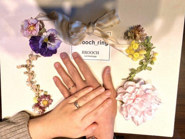 ピンクゴールドのペアリングがキレイ!おふたりが選んだのはLAPAGE Fleurs(ラパージュ・フルール)のDahlia(ダリア)