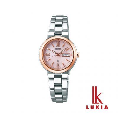 ピンクの文字盤がかわいいLUKIAのソーラー電波時計。