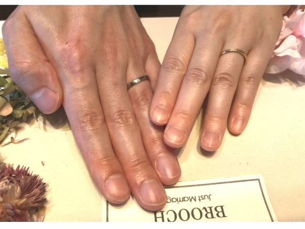 新潟で結婚するP様の結婚指輪は俄【にわか】京杢目