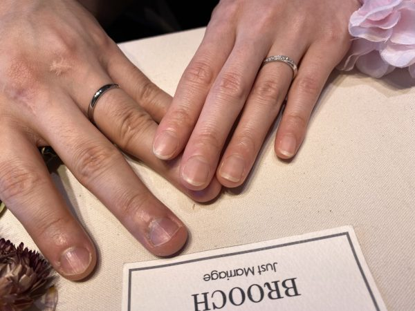 新潟でダイヤラインが華やかな太めの結婚指輪(マリッジ)は俄(にわか)の綺羅(きら)