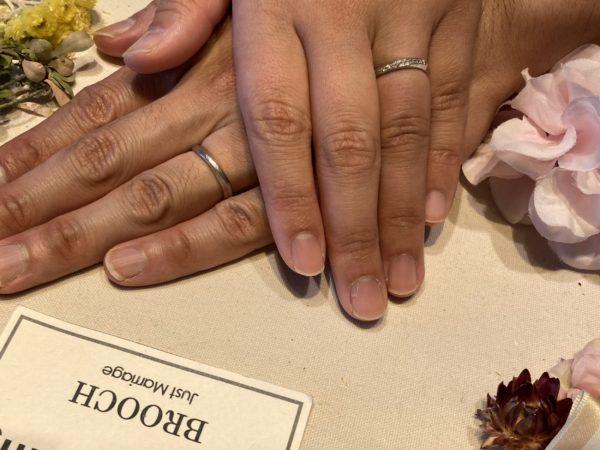 ダイヤモンドが綺麗な太めの結婚指輪(マリッジリング)