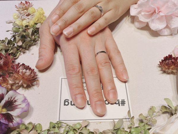 お二人に選ばれたのはLUCIEの結婚指輪と婚約指輪で重ねづけも綺麗!!