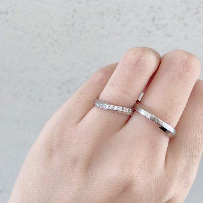 ダイヤモンドが綺麗な結婚指輪